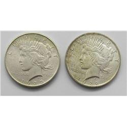 1925 & 1922 PEACE DOLLARS UNC