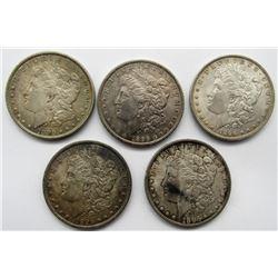 5- 1896 MORGAN SILVER DOLLARS