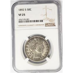 1892-S Barber Half Dollar 50C NGC Better Date VF25