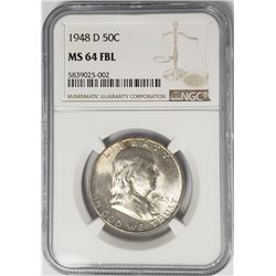 1948-D Franklin Half Dollar 50C NGC MS64 FBL
