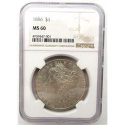 1886-P Morgan Silver Dollar $ NGC MS 60