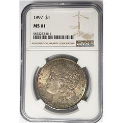 1897-P Morgan Silver Dollar $1 NGC MS61