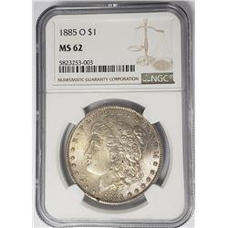 1885-O Morgan Silver Dollar $1 NGC MS62