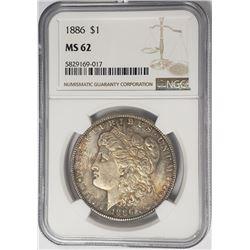 1886-P Morgan Silver Dollar $1 NGC MS62