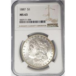 1887-P Morgan Siver Dollar $1 NGC MS63