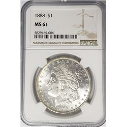 1888-P Morgan Silver Dollar $1 NGC MS61