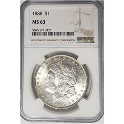 1888-P Morgan Silver Dollar $1 NGC MS63