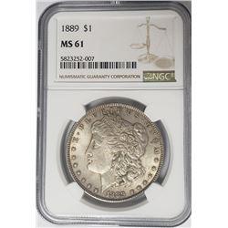 1889-P Morgan Silver Dollar $1 NGC MS61