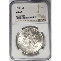 1896-P Morgan Silver Dollar $1 NGC MS62