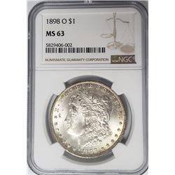 1898-O Morgan Silver Dollar $1 NGC MS63