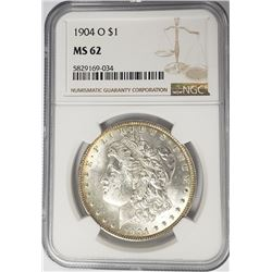 1904-O Morgan Silver Dollar $1 NGC MS62