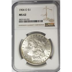 1904-O Morgan Silver Dollar $1 NGC MS62