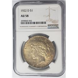 1922-D Peace Dollar $1 NGC AU58