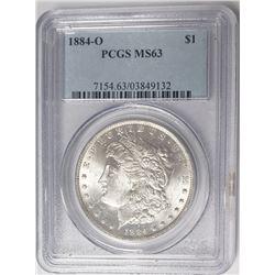 1884-O Morgan Silver Dollar $1 PCGS MS63