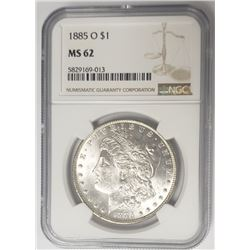 1885-O Morgan Silver Dollar $1 NGC MS62