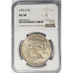 1926-S Peace Dollar $1 NGC AU58