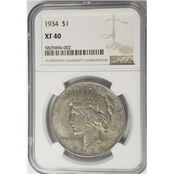 1934-P Peace Dollar $1 NGC XF40