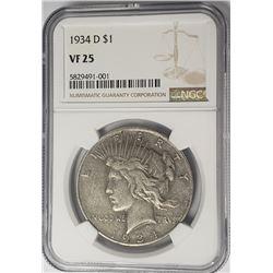 1934-D Peace Dollar $1 NGC VF25