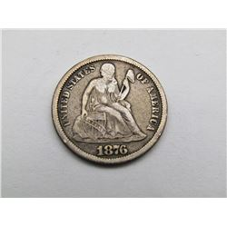 1876-CC SEATED DIME