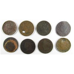 8- LARGE CENTS- DAMAGED/HOLED/POROSITY
