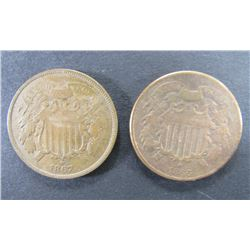 1866 & 1867 TWO CENT PIECES