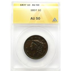 1837 LARGE CENT ANACS AU50