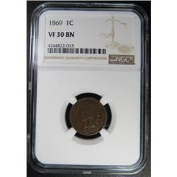 1869 INDIAN CENT NGC VF30 BN
