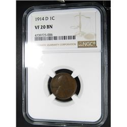 1914-D LINCOLN CENT NGC VF 20 BN