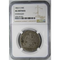 1863-S SEATED HALF DOLLAR NGC AG DETAILS
