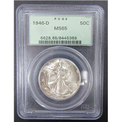 1946-D WALKING LIBERTY HALF $ PCGS MS65