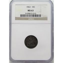 1862 10C Seated Liberty Dime NGC MS 63 Nice Toning