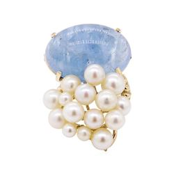 Oval Cabochon Kyanite and Pearl Cluster Pendant/Pin - 14KT Yellow Gold