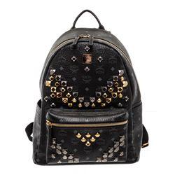 MCM Black Visetos Coated Canvas Medium Stark Stud Backpack