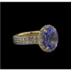 3.44 ctw Tanzanite and Diamond Ring - 14KT Yellow Gold