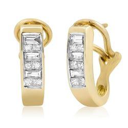 14k Yellow Gold 0.50CTW Diamond Earrings, (H-I)