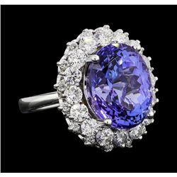 GIA Cert 12.06 ctw Tanzanite and Diamond Ring - 14KT White Gold