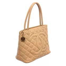 Chanel Tan Quilted Caviar Leather Medallion Tote Bag