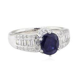 2.01 ctw Sapphire and Diamond Ring - 14KT White Gold