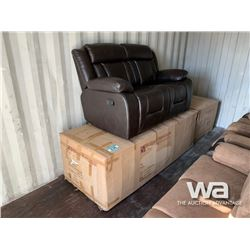 3 PCE LEATHER RECLINING SOFA W/ LOVE SEAT & CHAIR