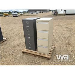 GREY & TAN 4 DRAWER FILE CABINETS