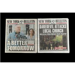Marvel's Daredevil (TV Series) - Pair of New York Bulletin Daredevil Newspaper Covers