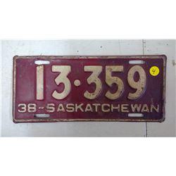 SASKATCHEWAN 1938, 13-359 LICENSE PLATE