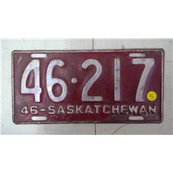 SASK. 1946, 46-217 LICENSE PLATE