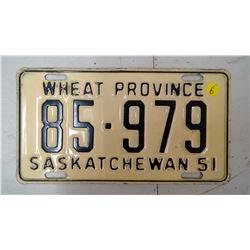 SASK 1951, 85-979 LICENSE PLATE