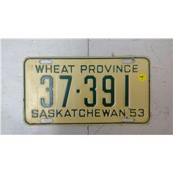 SASK. 1953, 37-391 LICENSE PLATE