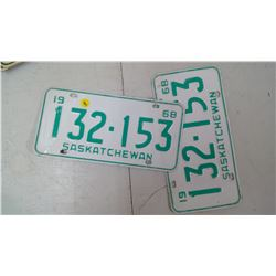 PAIR OF SASK, 1969, 132-153 LICENSE PLATES