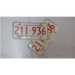 PAIR OF SASK. 1973, 211-936 LICENSE PLATES