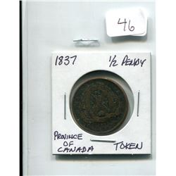 1837 PROVINCE OF CANADA 1/2 PENNY