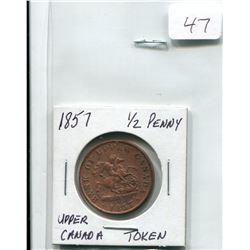 1857 UPPER CANADA 1/2 PENNY