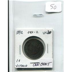 1892 VICTORIA ONE CENT